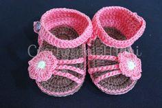 "Sandália de crochê para bebe - Modelo mary ~ ""Crochê da Mimi"""