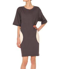 Another great find on #zulily! Graphite & Ivory Dolman Dress #zulilyfinds