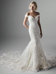 Sottero and Midgley - KENNEDY, An off-the-shoulder lace wedding dress is exceptionally elegant. A double-lace train is exceptionally extravagant. Let's all pause and appreciate living in this world of beautiful contradictions. Lace Wedding Dress, Wedding Dresses Photos, Bridal Dresses, Wedding Gowns, Wedding Bells, Modest Wedding, Wedding Attire, Dress Lace, Boho Wedding