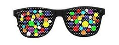 Raver Shades Colorful Bubble with Black Frames by Rave-Nation. $19.99. Out with the old hipster glasses with no lenses and in with lenses that have images and designs on them!  Shades are already a unique and fun accessory, now they are taken to the next level.  Made with smooth and shiny black frames and colorful lenses that are made with one way vision vinyl technology in the classic wayfarer style.  Although your eyes are covered you won't miss any of the show with t...