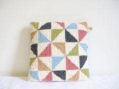 patchwork style crochet cushion cover