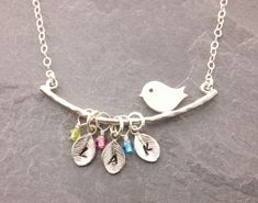 Mom Necklace with Birthstone, 1-5 Kids, kids initials, grandma necklace, personalized mom necklace, gifts for grandma, nana, mothers day, N1 https://etsy.me/2IBWPt0 #jewelry #necklace #silver #babyshower #animals #yes #silverbirdnecklace #babyshowerjewelry #momnecklace