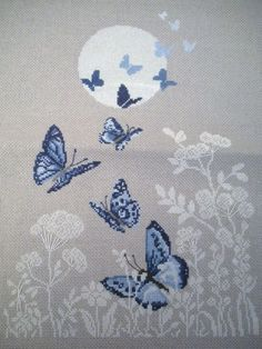 butterfly change to plumb & mauveThis Pin was discovered by Mim Cross Stitch Animals, Cross Stitch Kits, Cross Stitch Charts, Cross Stitch Designs, Cross Stitch Patterns, Cross Stitching, Cross Stitch Embroidery, Embroidery Patterns, Hand Embroidery