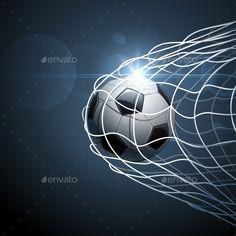 Buy Soccer Ball in Goal by -Baks- on GraphicRiver. Soccer ball in goal with bright effect. Soccer Images, Vector Portrait, Vector Pattern, Soccer Ball, Vector Design, Royalty Free Stock Photos, Goals, Illustration, Sports