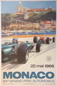 #Monaco Grand #Prix #1966 (#Ferrari) #manifesto #original #poster vintage by www.posterimage.it