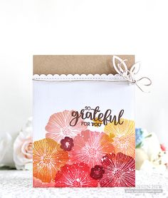 Welcome back my crafty friends! Today I want to share with you my floral thanks card with the SSS Oh Happy Day stamp set I designed. Here is what I came up with: I started by creating my floral bac…