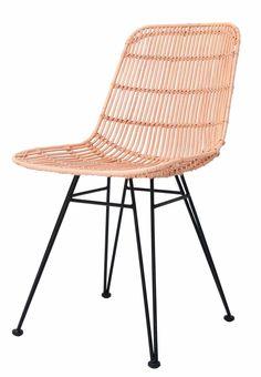 HK-living Salle à manger chaise en métal / rotin, le saumon rose, 80x44x57cm