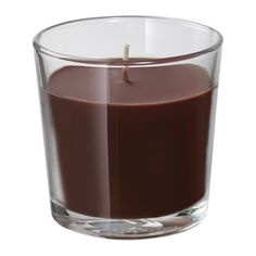 IKEA SINNLIG Scented candle in glass Brown 7.5 cm The scent of apple pie with cinnamon and vanilla custard creates a warm atmosphere.