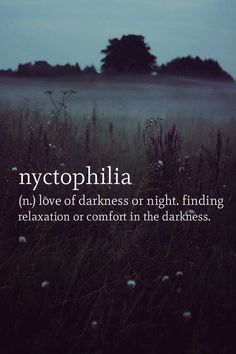 nyctophilia  nyc·to·phil·i·a (nĭk'tə-fĭl'ē-ə) n. love of darkness or night. finding comfort in the darkness.