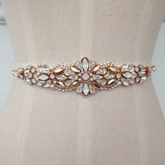 Swarovski Bridal Belt  Sash  Rose Gold  White Opal by MeldaDeBride