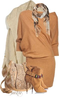 """""""Cardigan, Dress and Boots"""" by jackie22 on Polyvore"""