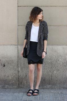 Black lace-trimmed skirt, textured blazer and BIRKENSTOCKS! from Mango and Salt