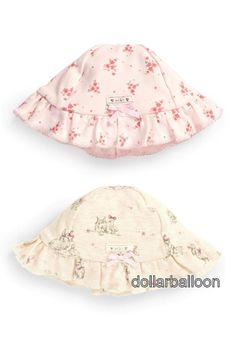 NEXT GIRLS 2 PACK CREAM/PINK BUNNY RABBIT/FLORAL LACE TRIM SUMMER/SUN HAT SET