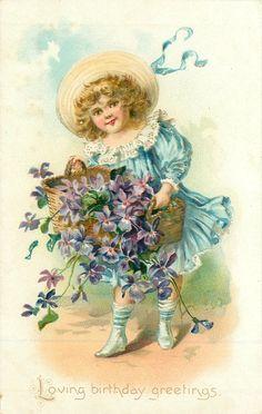 LOVING BIRTHDAY GREETINGS  girl spills basket of purple violets