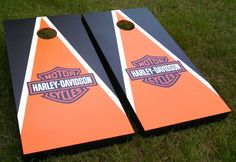 Custom cornhole board games. Exterior vinyl logo on painted boards. Harley Davidson Bag toss party ideas gift ideas