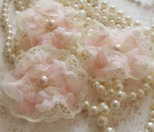 Fabric flowers with lace & pearls
