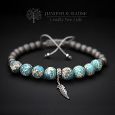 Mens Bracelet with 8 mm Turquoise Variscite, Matte Hematite and 925 sterling Silver Feather charm , Adjustable Bracelet For Men , Unisex by JUNIPERANDELOISE on Etsy