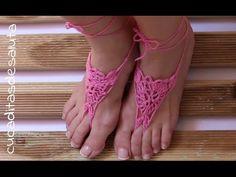 Pulsera de pie para bebe tejida a gancho/ Crochet Barefoot Baby Sandals - YouTube