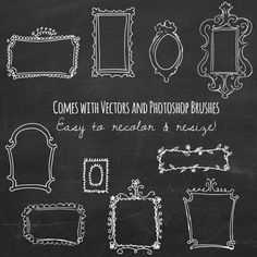 Vector Doodle Frames // Hand Drawn Frames // DIY by thePENandBRUSH もっと見る