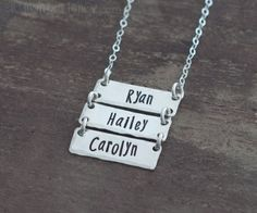 Personalized Silver Bar Necklace with Children by allmyheartshop, $30.00