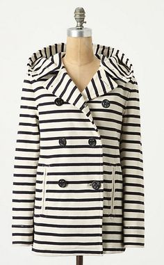 I feel like peacoats are really being reexamined right now — I've seen so many interesting designs the last few months.  lemonadeandivy:    noteworthy nautical ~   fabulous striped jersey peacoat!