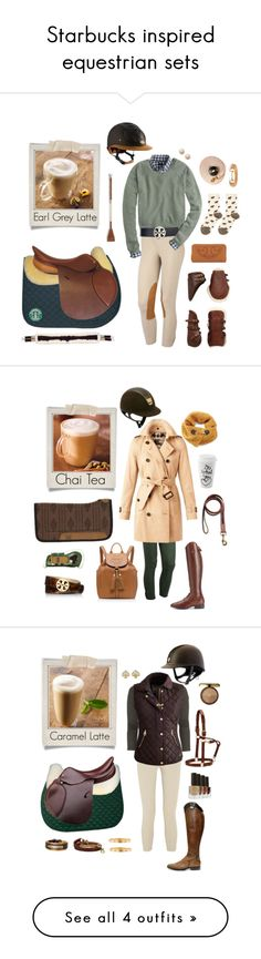 """""""Starbucks inspired equestrian sets"""" by equine-couture ❤ liked on Polyvore featuring Polaroid, J.Crew, Tory Burch, Hansel from Basel, Burberry, Ariat, Brooks Brothers, equestrian, equine and Awake"""