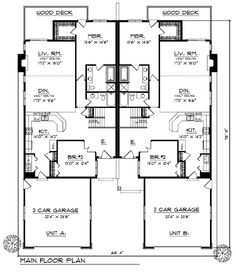 First Floor Plan of Traditional   Multi-Family Plan 73474