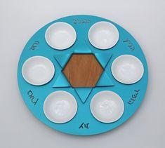 "Passover - Seder Plate ""Nitsanim"" made by Shraga Landesman, Judaica, Aluminum and beech wood"