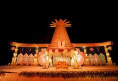 VillArt (5) Indian Wedding Stage, Indian Wedding Favors, India Wedding, Telugu Wedding, Wedding Mandap, Wedding Venues, Wedding Ideas, Marriage Decoration, Wedding Stage Decorations