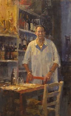 "James Crandall (American)  Restaurant Owner (Sig. Isola)  Oil ~ 25.25"" x 15.75"""