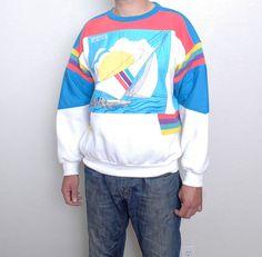 vtg 80s 90s ADIDAS REGATTA sailing sweatshirt