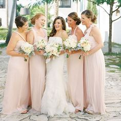Soft Feminine Blush Wedding photographed by Lauren Kinsey Photography with event design by Christina Gillon Events Amsale Bridesmaid, Blush Bridesmaid Dresses, Bridal Dresses, Pink Bridesmaids, Bridesmaid Inspiration, Wedding Inspiration, Wedding Ideas, Wedding Stuff, Wedding Colors