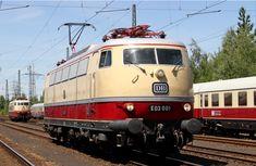 DB E03 001 Electric Locomotive at Bahnhof Koblenz-Luetzel, Rhineland-Palatinate, Germany