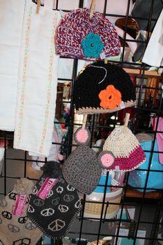 little crochet hats $20 each, Handmade burp cloths $3.50