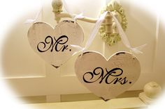 Mr  Mrs Chair Signs - Also available in bride selected verbiage - 1 sided sign. $29.99, via Etsy.