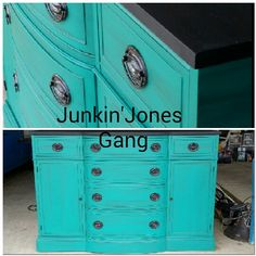 """Antique Duncan Phyfe Buffet.  Our signature color """"Green with Envy"""" by Miss Lillian's No-Wax Chock Paint"""