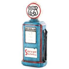 Blue Resin Route 66 Gas Pump with LED Light