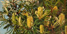 Judith Sinnamon > Banksias | Oil on canvas 93 x 48cm