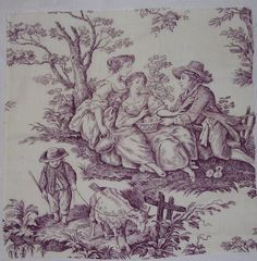 Vintage French Fabric Purple Toile romantic Country scene w goat Beautiful Bedding Sets, Stencils, Log Home Decorating, Decorating Tips, Interior Decorating, French Fabric, Textiles, Country Scenes, French Country Cottage