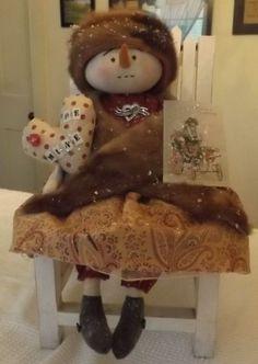 Primitive Snowman Snowgirl Doll Vintage Mink Hat Crinoline Rhinestones Valentine #NaivePrimitive #handcraftedbyartist