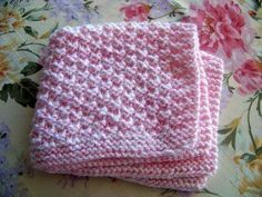 Box Stitch Baby Blanket - preemie size knitted in baby weight, held double. Instructions for larger sizes.