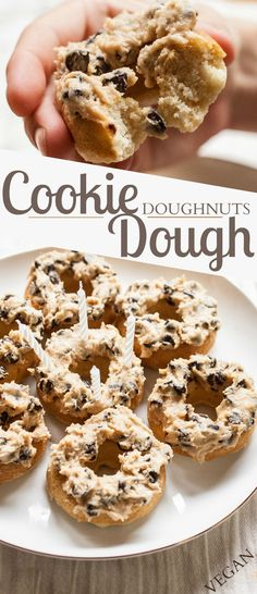 Produce On Parade - Cookie Dough Doughnuts! A fluffy, perfectly textured vanilla doughnut layered high with creamy and delicious cookie dough. Super decadent and sure to be a huge hit! Delicious Donuts, Delicious Desserts, Yummy Food, Vegan Desserts, Just Desserts, Dessert Recipes, Baked Donuts, Doughnuts, Donut Recipes