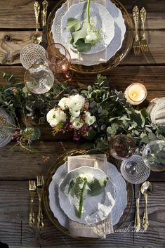 Table with garland and flowers
