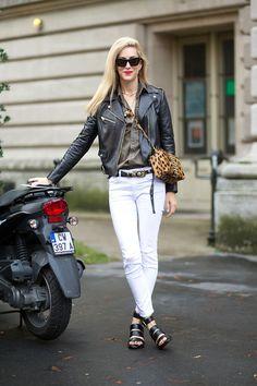 Joanna Hillman in Versace jacket and Mark Cross bag   - HarpersBAZAAR.com