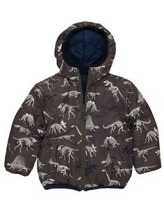 Hatley Boys Dino Bones Reversible Puffer Jacket