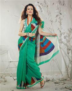 Ocean blue shaded bhagalpuri silk saree
