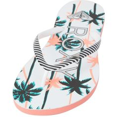Roxy Mimosa V Flip Flop ($19) ❤ liked on Polyvore featuring shoes, sandals, flip flops, white smooth, summer sandals, print shoes, white shoes, roxy sandals and summer shoes