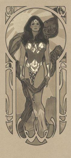 Adam Hughes art nouveau Wonder Woman commission