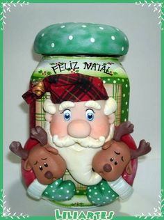 Pote Natalino                                                                                                                                                                                 Mais Diy And Crafts, Christmas Crafts, Crafts For Kids, Christmas Ornaments, Polymer Clay Christmas, Polymer Clay Crafts, Clay Jar, Fondant Toppers, Clay Ornaments