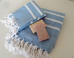 Natural Turkish Bath and Head Towel Set by CottonBathTowels, $39.90